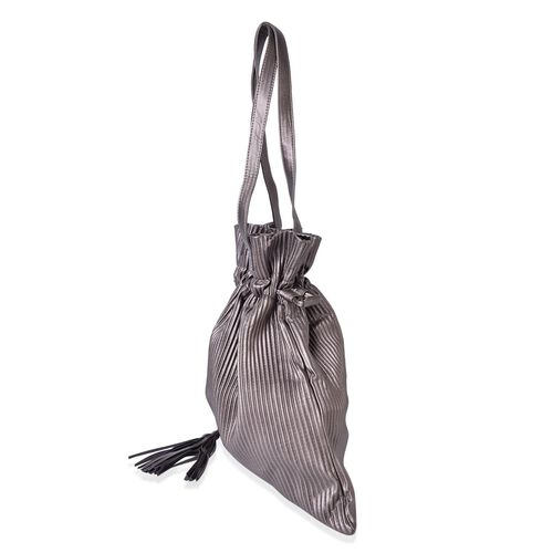 Silver Colour Pleated Embossed Bag with Tassel Charm (Size 42X40 Cm)