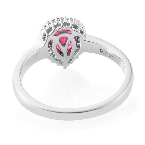 RHAPSODY 950 Platinum 0.98 Carat AAAA Rubelite Pear Halo Ring with Diamond VS/E-F