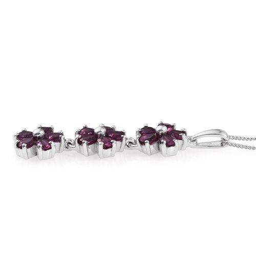 Rare Mozambique Grape Colour Garnet (Pear) Triple Floral Pendant With Chain in Platinum Overlay Sterling Silver 2.750 Ct.