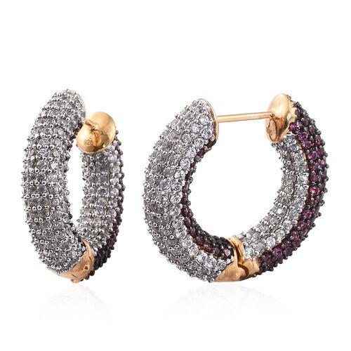 Designer Inspired - Rhodolite Garnet (Rnd), Natural Cambodian Zircon Hoop Earrings in 14k Gold Overlay Sterling Silver 10.00 Ct. Gemstone Studded 480.Silver Wt 17.81 Gms
