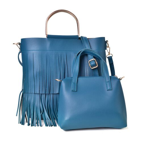 Set of 2 - Blue Colour Large Handbag with Fringes (Size 30X27X8 Cm) and Small Handbag (Size 22X18X4 Cm) with Adjustable and Removable Shoulder Strap