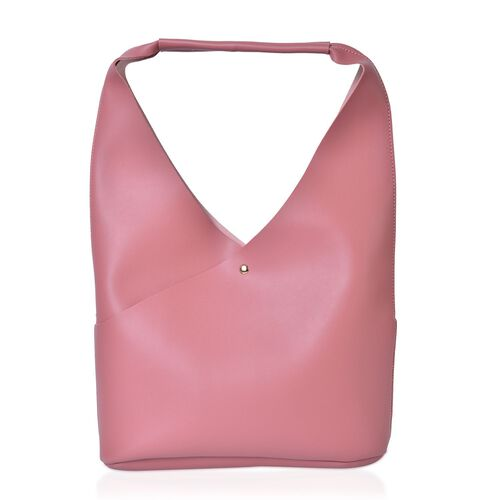 Set of 2 - Pink Colour Handbag (Size 34X25.5X10.5 Cm) and Pouch (Size 23X20X6 Cm)