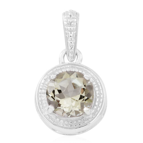 Rio Grande Green Amethyst (Rnd) Solitaire Pendant in Rhodium Plated Sterling Silver 2.750 Ct.