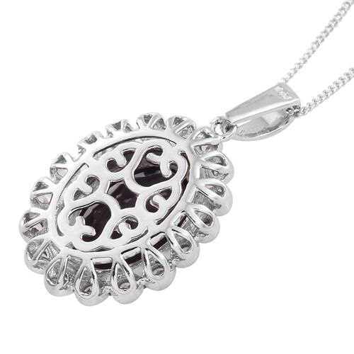 Alexandria Quartz (Ovl 5.90 Ct), Natural Cambodian Zircon Pendant with Chain in Platinum Overlay Sterling Silver 6.250 Ct.