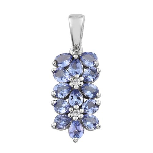 Tanzanite (Pear), Natural Cambodian Zircon Floral Pendant in Platinum Overlay Sterling Silver 1.750 Ct.