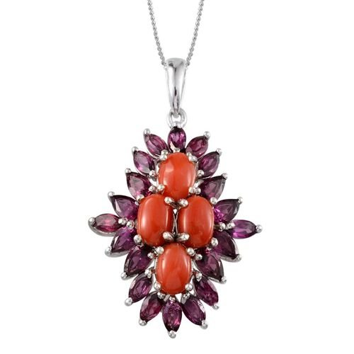 Natural Mediterranean Coral (Ovl), Rhodolite Garnet Pendant with Chain in Platinum Overlay Sterling Silver 6.750 Ct.