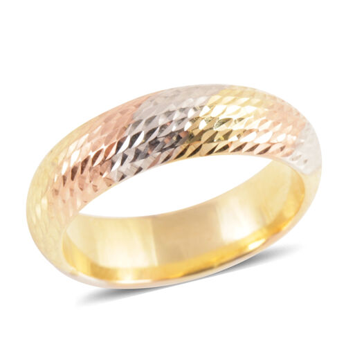 Limited Edition- Royal Bali Collection 9K Gold Tri Colour Band Ring, Gold wt 1.32 Gms.