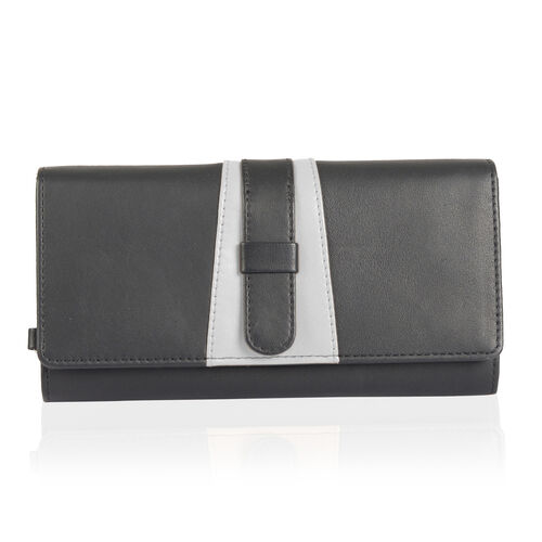 Limited Edition- 100% Genuine Leather RFID Blocker Black and White Colour Wallet with External Zipper Pocket (Size 19.5X10 Cm)