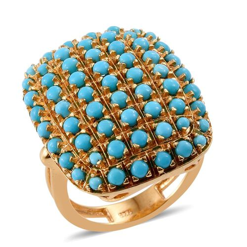 Arizona Sleeping Beauty Turquoise (Rnd) Ring in 14K Gold Overlay Sterling Silver. No of Stones 61 pcs.