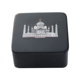 Soapstone Black Square Box With Beautiful Taj Mahal (Size 4x4)