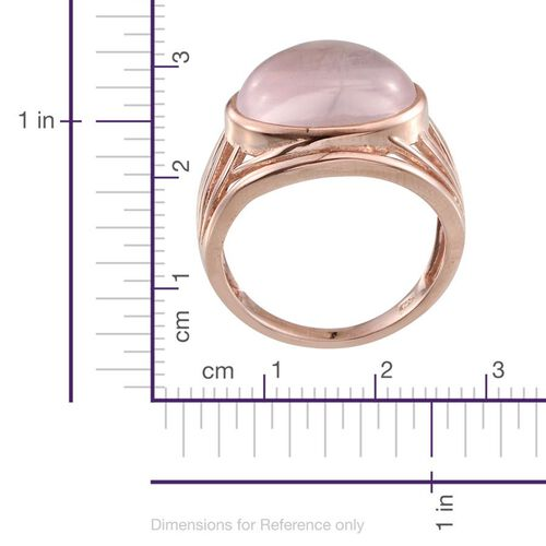Rose Quartz (Ovl) Solitaire Ring in Rose Gold Overlay Sterling Silver 9.500 Ct.