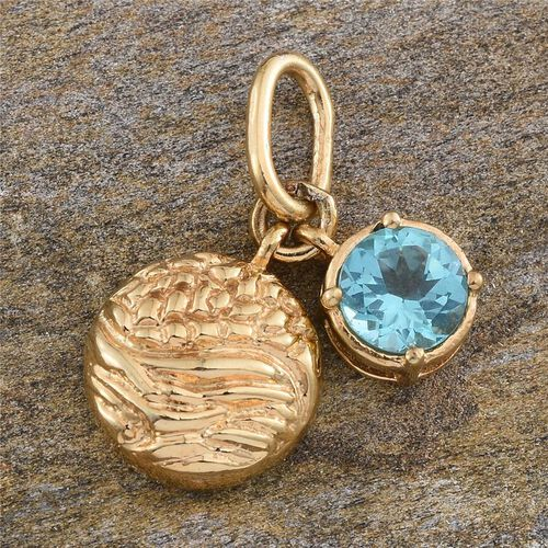 Paraibe Apatite (Rnd) Pendant in 14K Gold Overlay Sterling Silver 1.000 Ct.