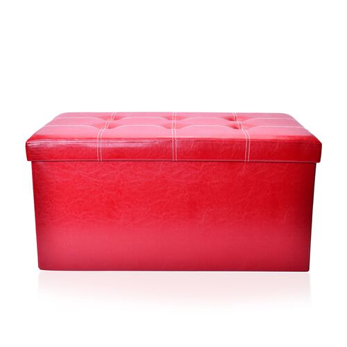 New Faux PU Leather Red Colour Foldable Large Storage Box