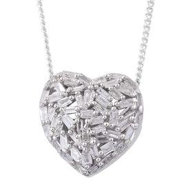 GP Diamond (Bgt), Kanchanaburi Blue Sapphire Heart Pendant with Chain (Size 18) in Platinum Overlay Sterling Silver 0.350 Ct.