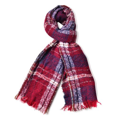 New Season-Blue, Red and White Colour Checks Pattern Scarf with Fringes (Size 90X66 Cm)