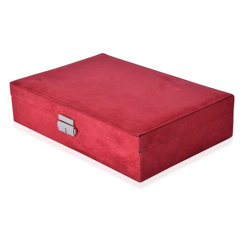 Red Velvet Two Layer Jewellery Box with Removable Rings, Earrings Tray and Watch Slot and Section Storage with Mirror Inside (Size 28x19x7 Cm)