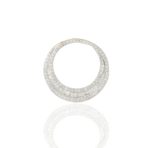 9K Y Gold SGL Certified Diamond (Bgt) (I3/G-H) Crescent Moon Shape Pendant 1.000 Ct.
