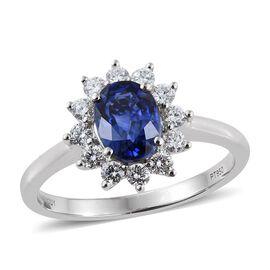 RHAPSODY 950 Platinum AAAA Ceylon Blue Sapphire (Ovl 1.50 Ct), Diamond (VS/E-F) Ring 2.000 Ct.