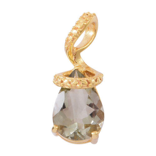 Green Amethyst (Pear) Solitaire Pendant in 14K Gold Overlay Sterling Silver 4.500 Ct.
