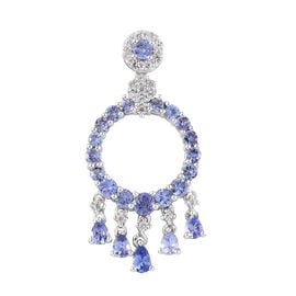 AA Tanzanite (Rnd), Natural Cambodian Zircon Circle Pendant in Platinum Overlay Sterling Silver 2.810 Ct.