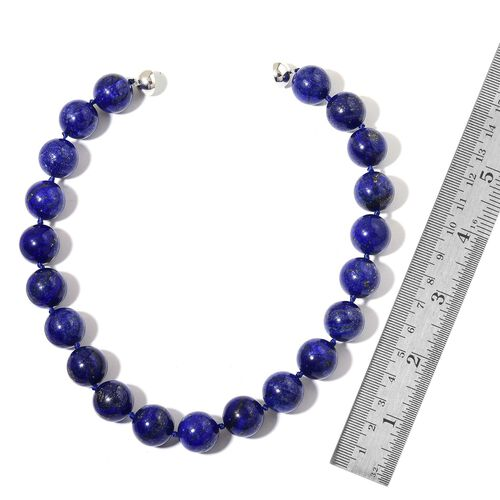 TJC Cyber Monday Deal- Rare Size Lapis Lazuli Ball Beads Necklace (Size 20) with Magnetic Clasp in Rhodium Plated Sterling Silver 1410.000 Ct.