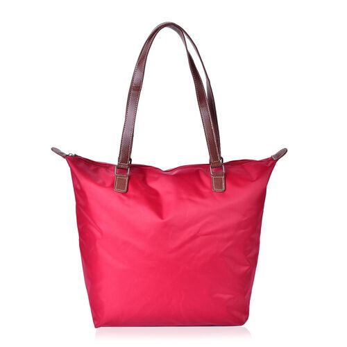 Designer Inspired - True Red Water Resistant large City Tote with External Zipper Pocket (Size 42X33X28X13.5 Cm)