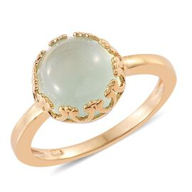 Aqua Chalcedony 3.50 Ct Silver Solitaire Ring in Gold Overlay