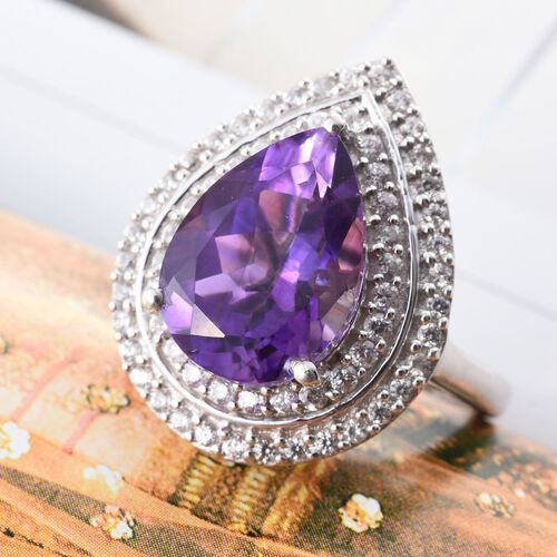 Limited Edition-Moroccan Amethyst (Pear 4.95 Ct), Natural Cambodian Zircon Ring in Platinum Overlay Sterling Silver 5.750 Ct.