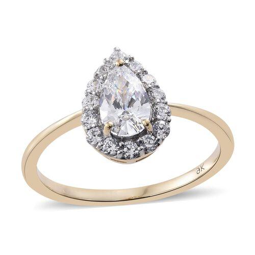 J Francis - 9K Yellow Gold Pear Halo Ring Made with SWAROVSKI ZIRCONIA