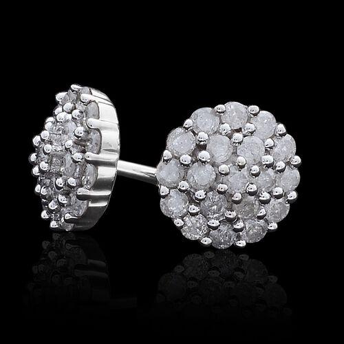 9K White Gold SGL Certified Diamond (Rnd) (I3 G-H) Stud Earrings (with Push Back) 0.500 Ct.