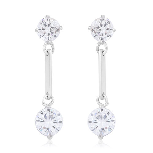 ELANZA AAA Simulated Diamond (Rnd) Earrings (with Push Back) in Rhodium Plated Sterling Silver