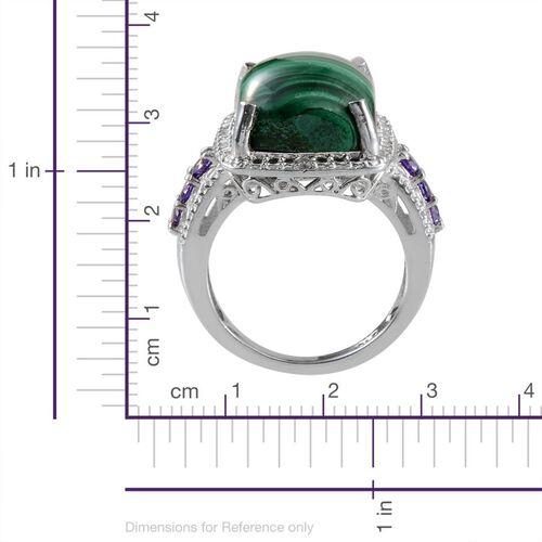 Malachite (Cush 8.50 Ct), Simulated Tanzanite and Simulated Diamond Ring in ION Plated Platinum Bond 8.950 Ct.