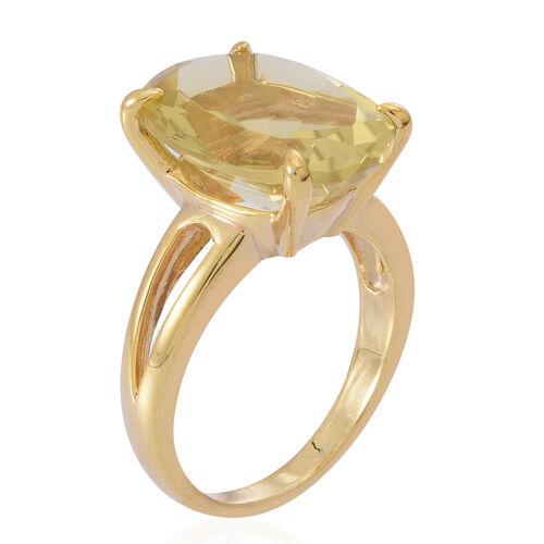 Lemon Quartz (Ovl) Ring in 14K Gold Overlay Sterling Silver 10.000 Ct.