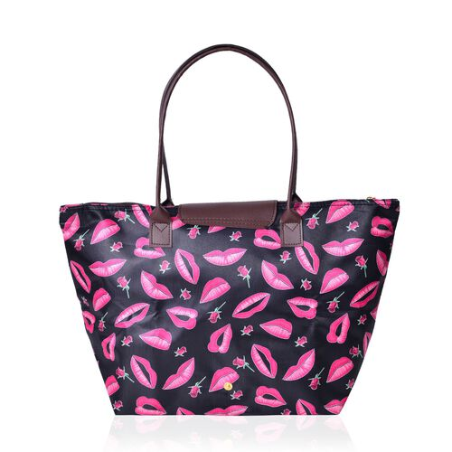 Designer Inspired-Set of 2 - Lip and Rose Pattern Black Colour Large Handbag (Size 45x28x27.5x17 Cm) and Small Handbag (Size 32x21x20x12.5 Cm)