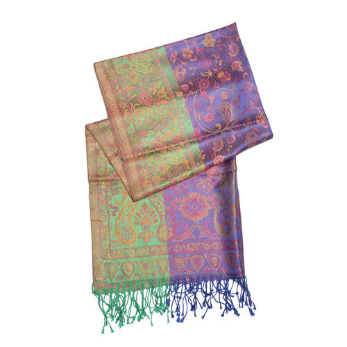 SILK MARK- 100% Superfine Silk Green, Purple and Multi Colour Jacquard Jamawar Scarf with Fringes (Size 180x70 Cm)