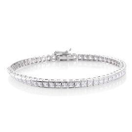 J Francis - 9K White Gold (Princess Cut) Tennis Bracelet (Size 7.5) Made with SWAROVSKI ZIRCONIA. Gold Wt 9.30 Gms