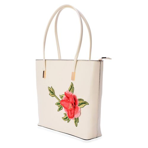 3D Floral Pattern Cream Colour Tote Bag (Size 38x28x8 Cm)