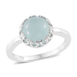 Aqua Chalcedony 3.50 Ct Silver Solitaire Ring in Platinum Overlay