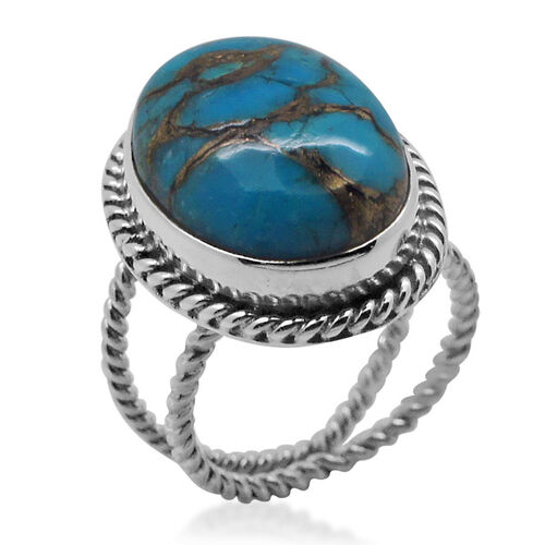 Royal Bali Collection Mojave Blue Turquoise (Ovl) Solitaire Ring in Sterling Silver 9.370 Ct.