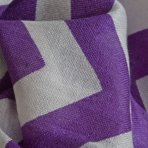 100% Viscose Purple and White Colour Printed Scarf (Size 180x55 Cm)