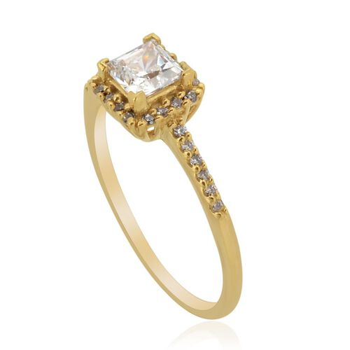 J Francis - 14K Gold Overlay Sterling Silver (Sqr) Ring Made with SWAROVSKI ZIRCONIA