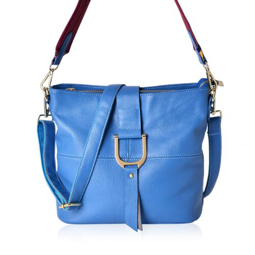 Genuine Leather Blue Colour Hand Bag with Adjustable and Removable Shoulder Strap (Size 29x26x13 Cm)