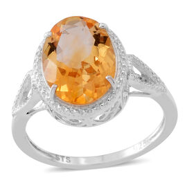 AAA Uruguay Citrine (Ovl) Solitaire Ring in Sterling Silver 5.400 Ct.