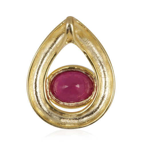 African Ruby (Ovl) Solitaire Pendant in 14K Gold Overlay Sterling Silver 2.750 Ct.