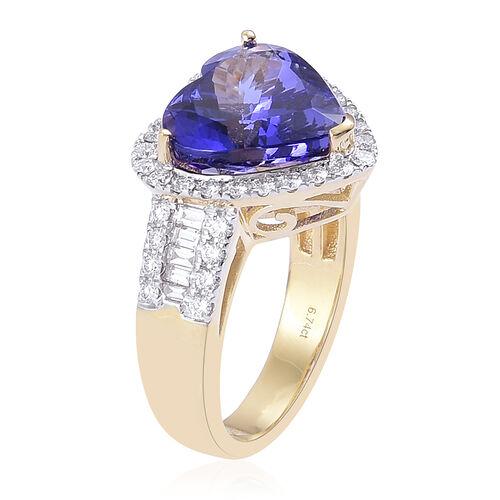 ILIANA 18K Y Gold AAA Tanzanite (Hrt 6.75 Ct), Diamond (SI/G-H) Ring 7.600 Ct. Gold Wt 7.80 Gms SIZE P