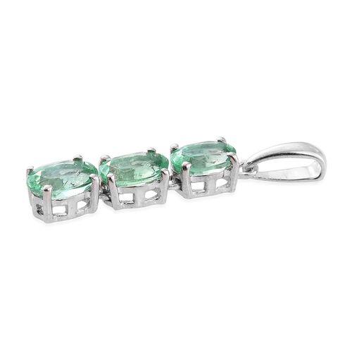 ILIANA 18K White Gold AAA Boyaca Colombian Emerald (Ovl) Trilogy Pendant 1.250 Ct.