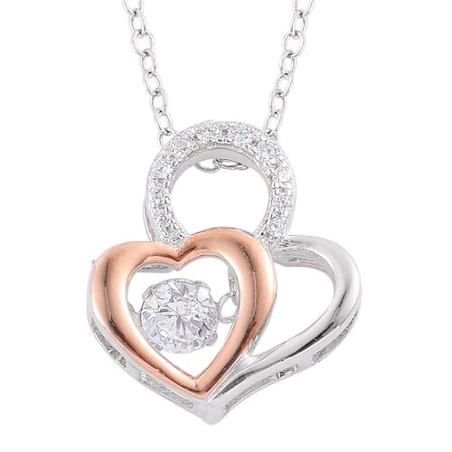ELANZA AAA Simulated White Diamond Heart Pendant With Chain in Rose Gold Overlay Sterling Silver