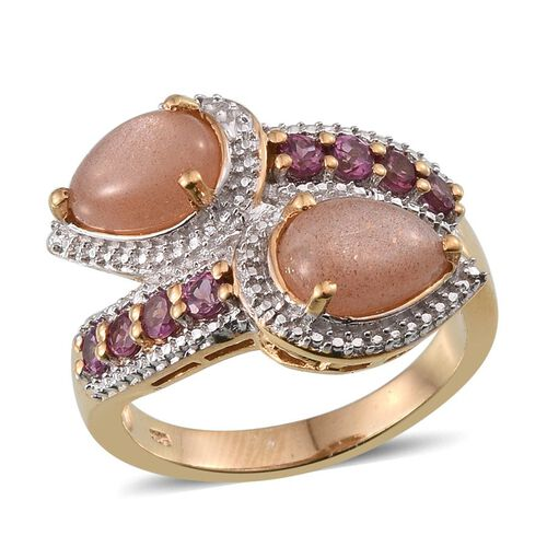 Morogoro Peach Sunstone (Pear), Rhodolite Garnet Crossover Ring in 14K Gold Overlay Sterling Silver 5.500 Ct.