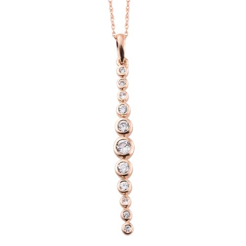 0.50 Carat AA Natural Cambodian Zircon Drop Pendant With Chain in 9K Rose Gold