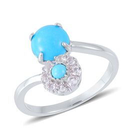 Arizona Sleeping Beauty Turquoise (Rnd 1.75 Ct), White Topaz Ring in Platinum Overlay Sterling Silver 2.150 Ct.